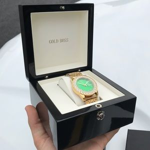 NEW IN BOX 18k Gold Boss Watch with CZ Bezzle